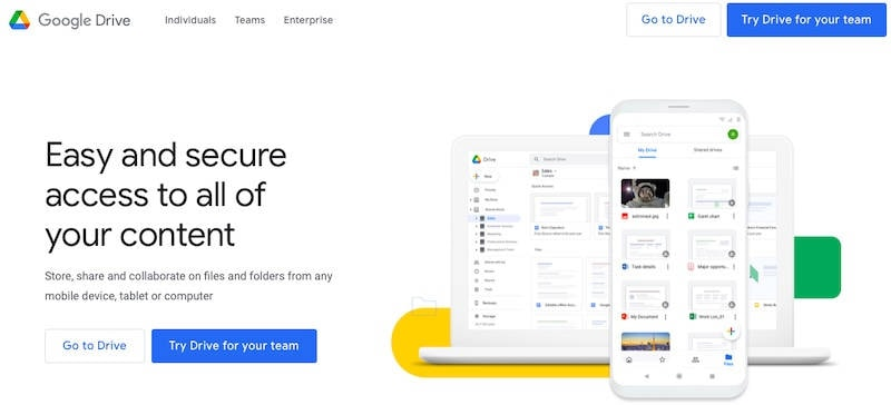 Google Drive home page