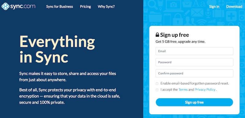 Sync.com home page