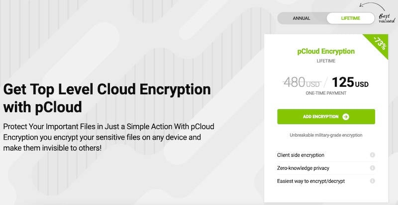 pCloud offers zero-knowledge encryption for utmost privacy and security