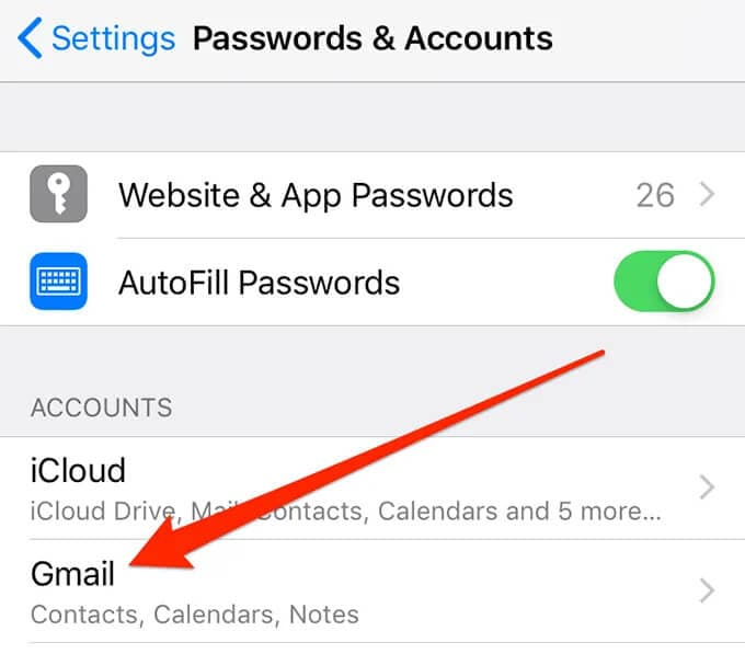 select your Gmail account