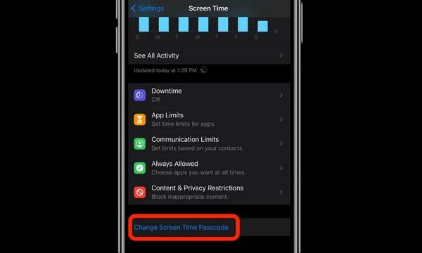 sélection modifier le mot de passe Temps d'écran