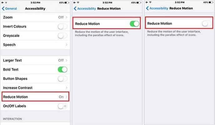 disable reduce motion feature