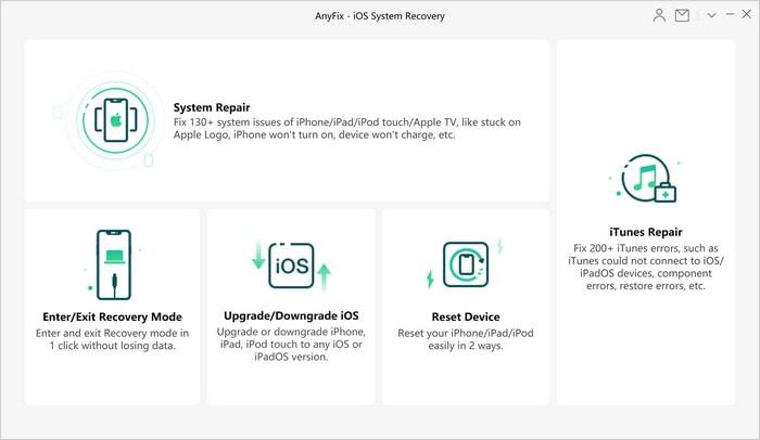 interface de récupération du système ios anyfix