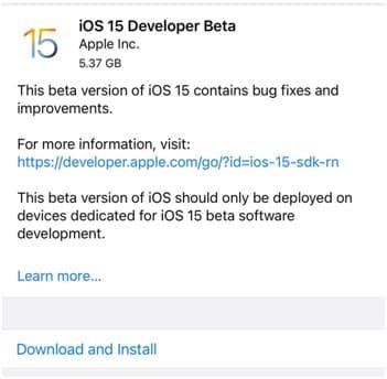 ios 15 developer beta