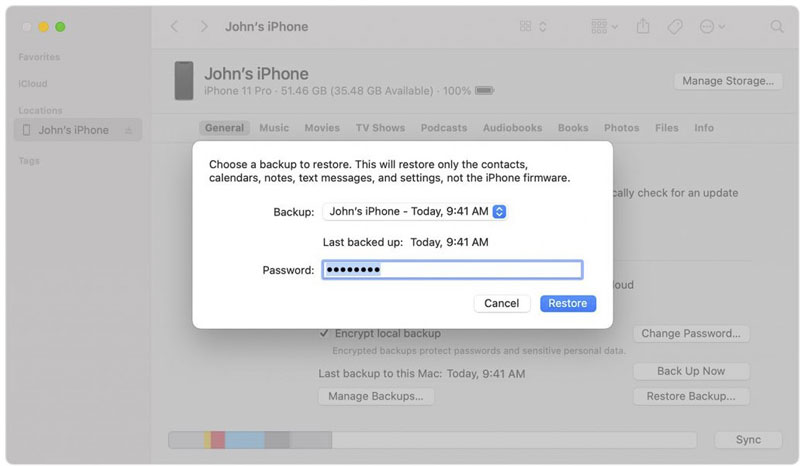restore photos from apple's backups