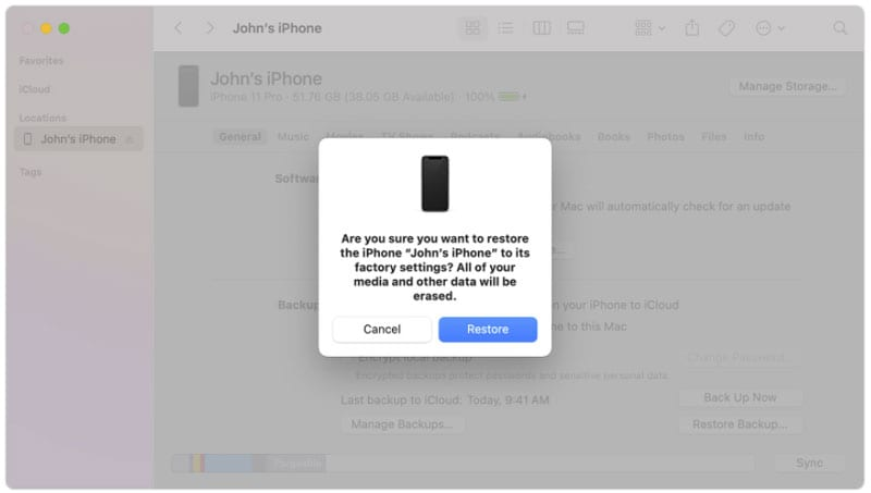 restore iphone by pc