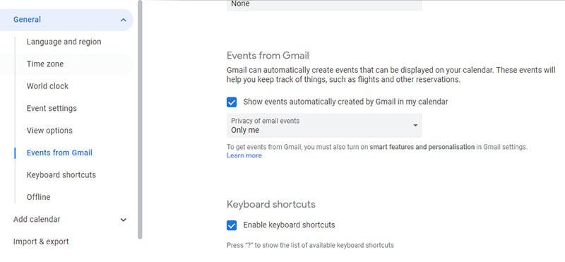 Ereignisse von Google Mail