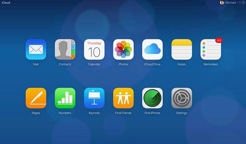iCloud-Startbildschirm