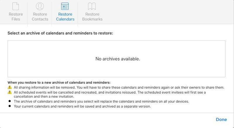 restore calendar and events icloudr