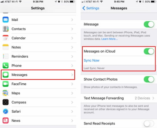 backup iphone messages to icloud