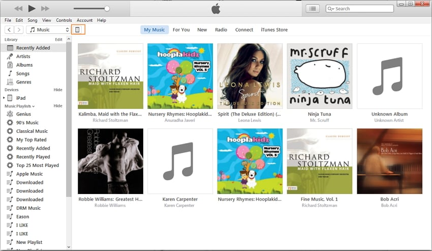 Choose iPad Music Library