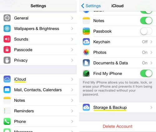 Transfer Music from iPhone to iCloud - turn on the switch for iCloud Backup
