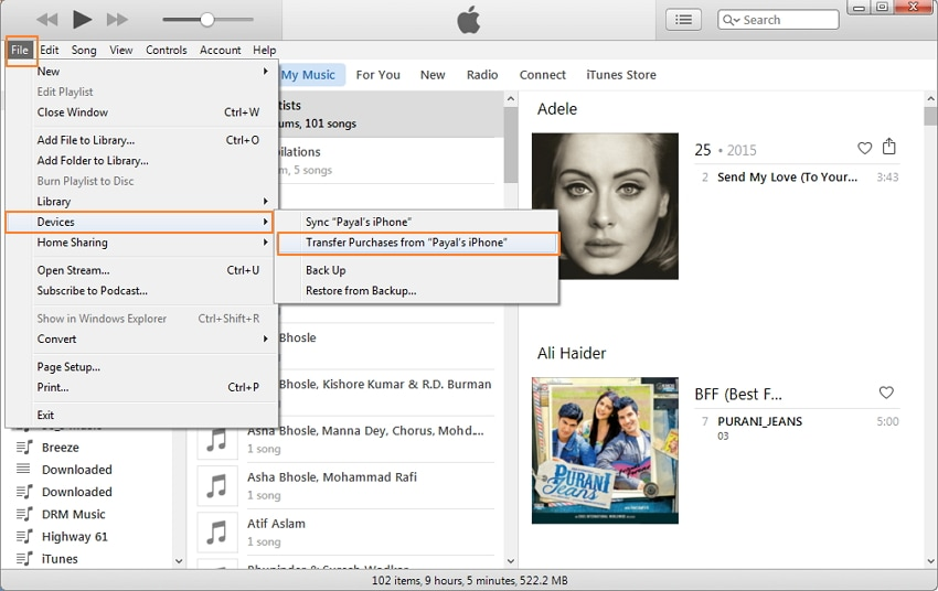Transfer Music from iPhone to iPhone Using iTunes-step 2
