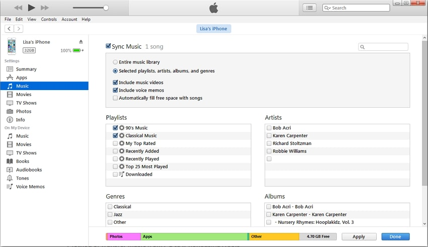transfer music from PC to iPhone with itunes