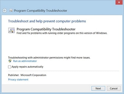 Program Compatibility Troubleshooter
