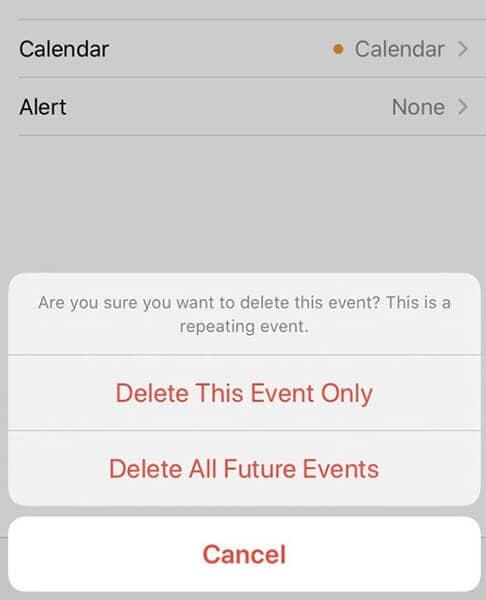 delete all future events
