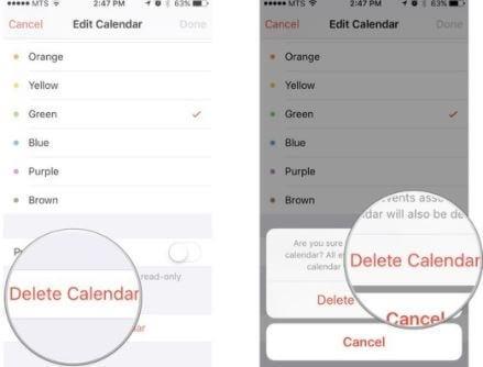 delete calendar
