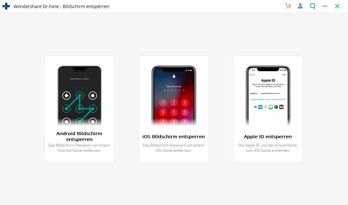 """den iPhone-Sperrcode mit Dr.Fone - Reparieren entsperren - auf """"Start"""" klicken"""