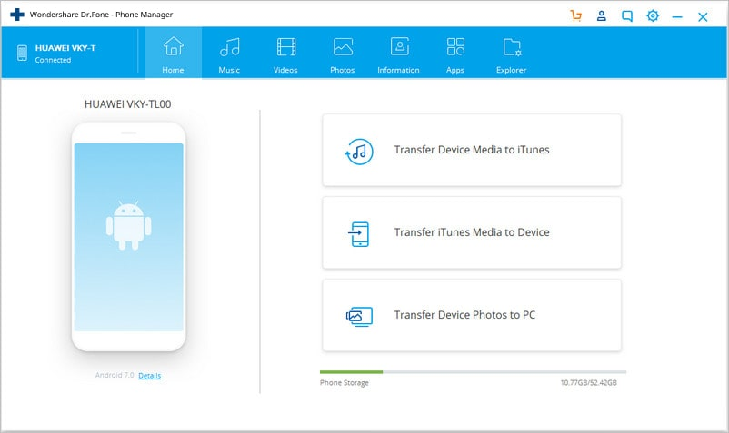 transfer data from samsung to pc using Dr.Fone