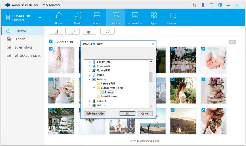 customize the save path for exported photos