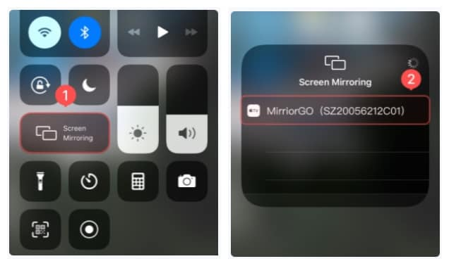 choose MirrorGo under screen mirroring choices