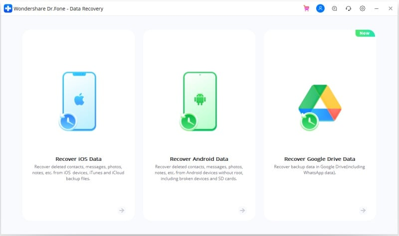 data recovery from nexus which won't turn on-Launch Wondershare Dr.Fone