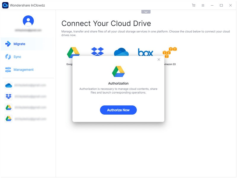 follow the instructions to authorize the cloud drives