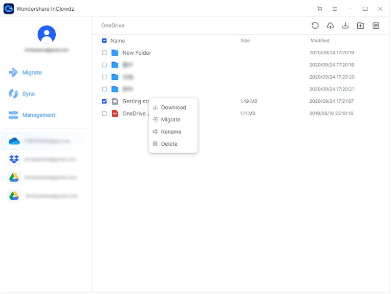 manage files in clouds