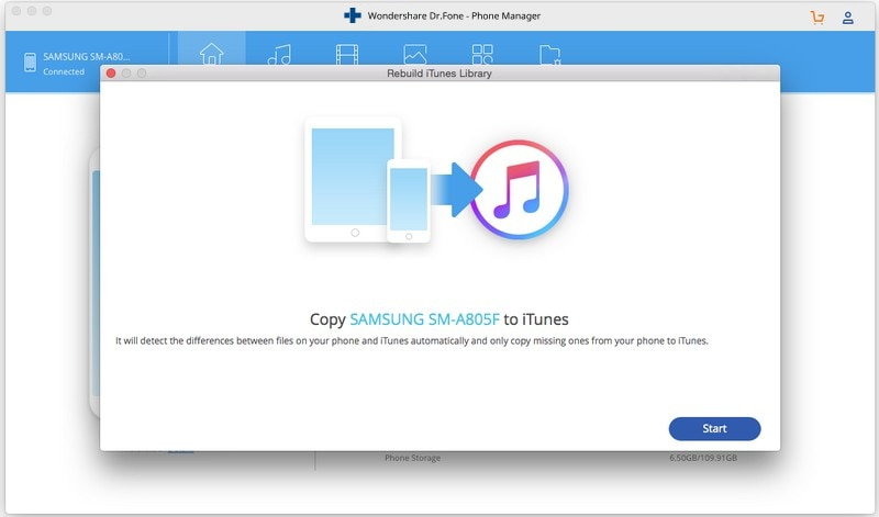 transfer music from Android to itunes-click start