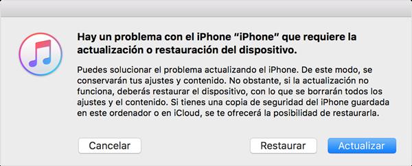 restaurar iPhone en modo de recuperación