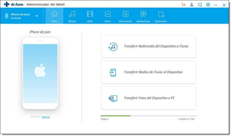 transfiere archivos de iphone con Dr.Fone