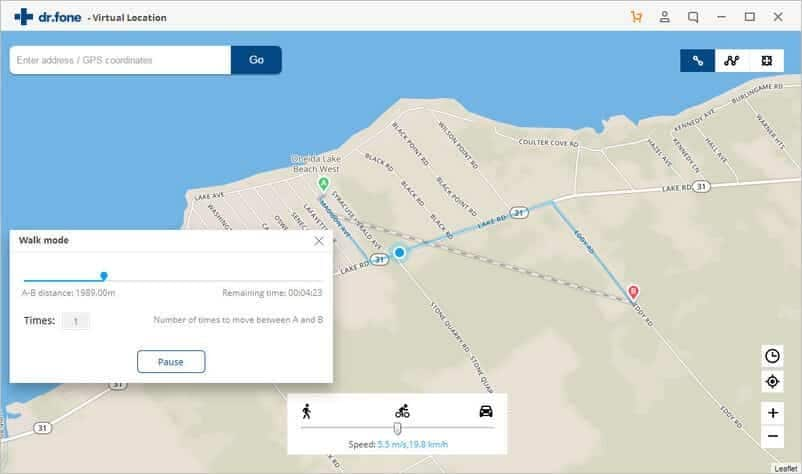 Dr.Fone Virtual Location tool