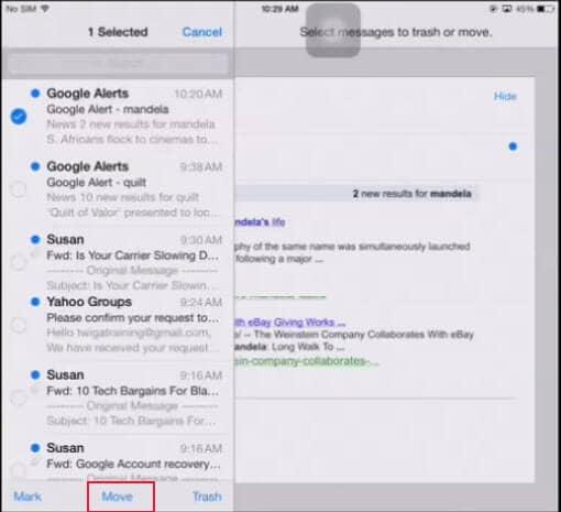 Come Eliminare in maniera Permanente le Email dall'iPad