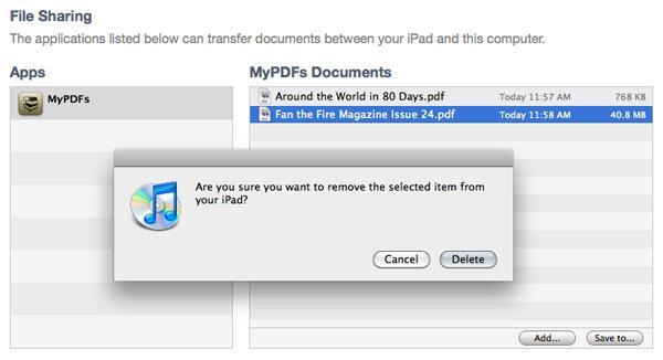 Come eliminare iPad documenti su iTunes