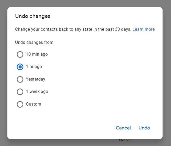 undo changes
