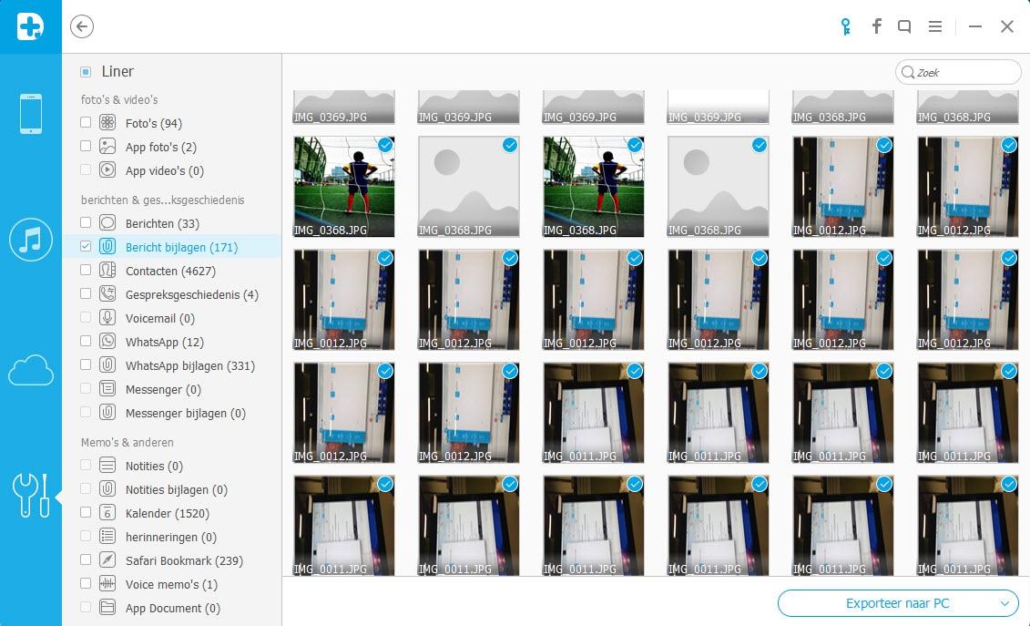 Exporteer iPhone back-up foto's.