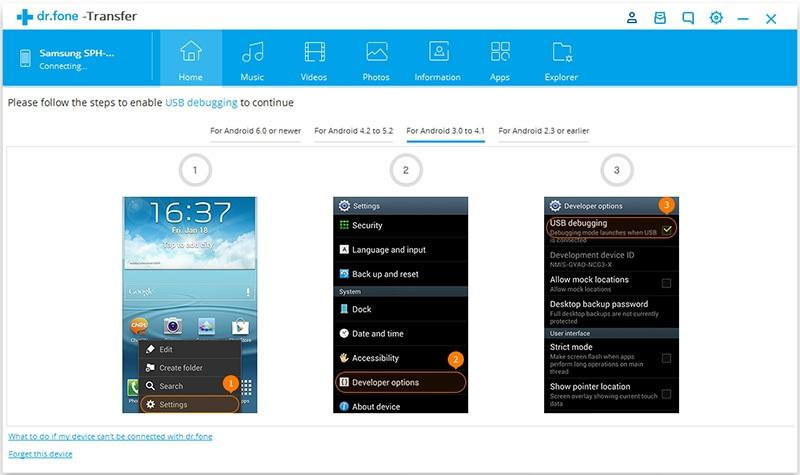 Inschakelen USB Debug op Android 3.0-4.1