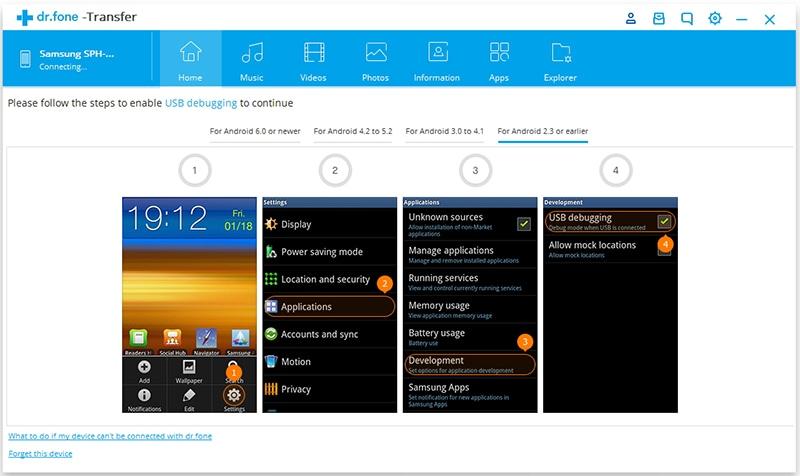 Inschakelen USB Debug op Android 2.0-2.3