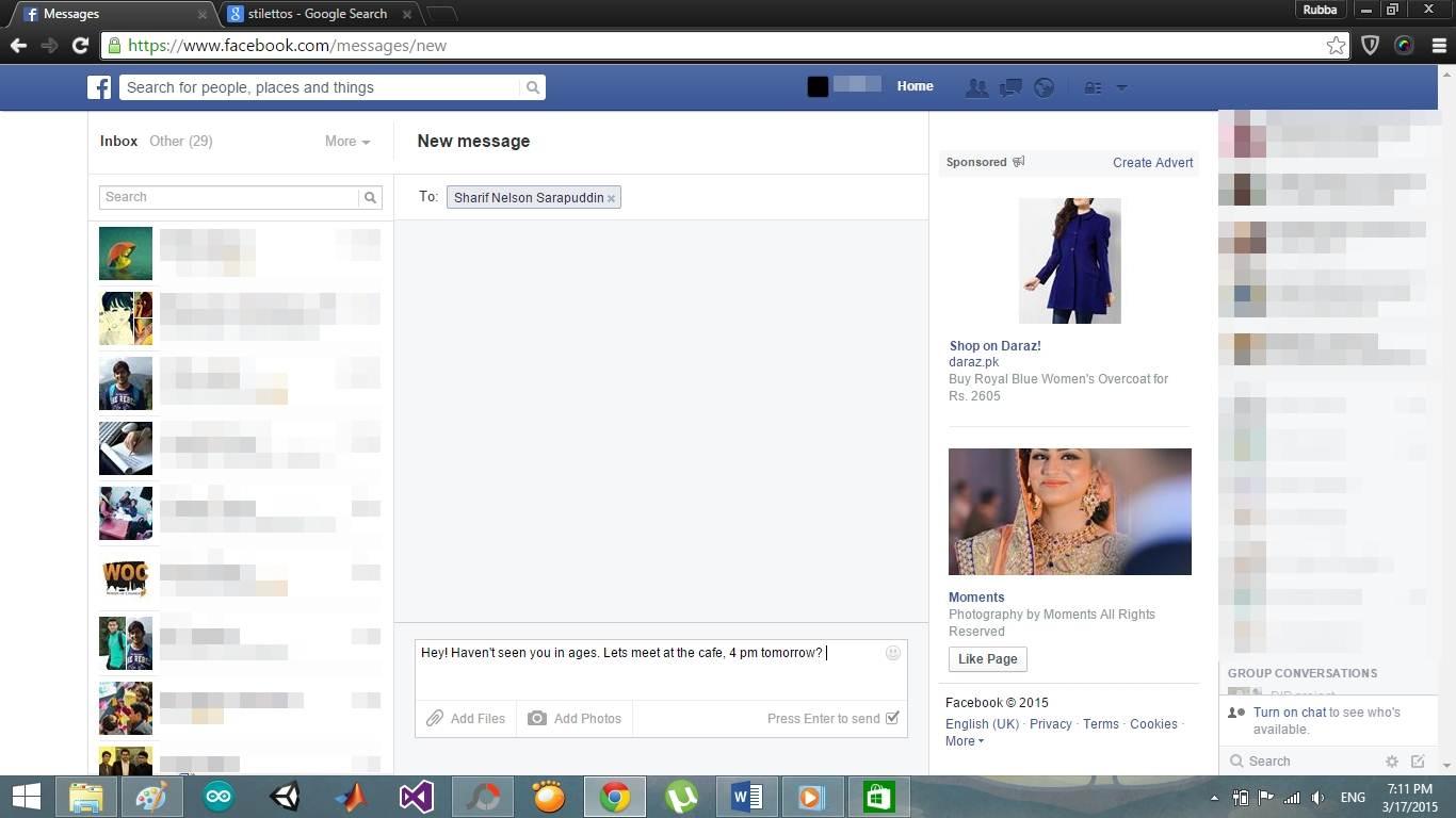 write facebook message