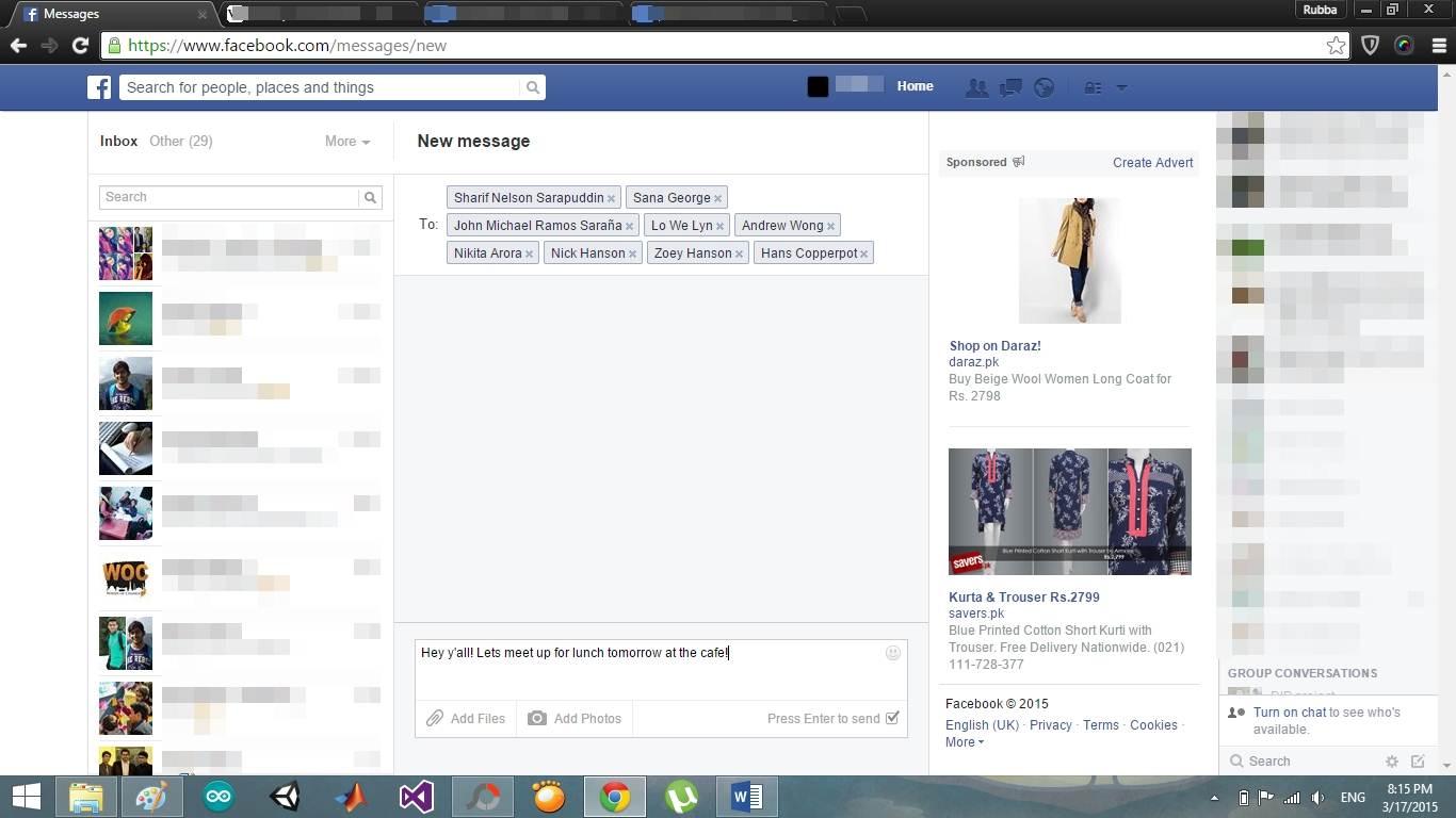 send facebook group messages