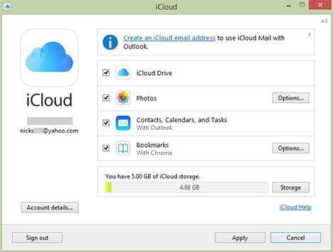 Access iCloud by iCloud control panel