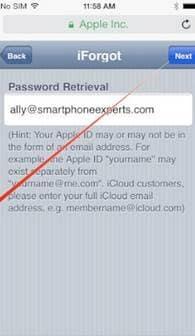 reset the forgotten iCloud password settings
