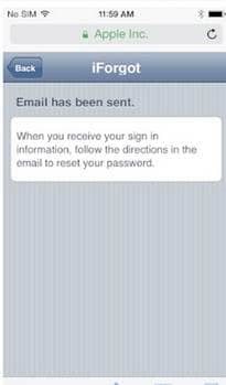 check email to reset the forgotten iCloud password