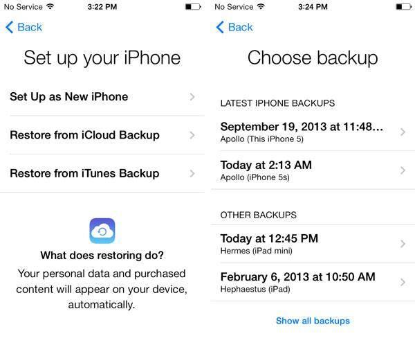 KHerstellen iPhone via iCloud Back-up