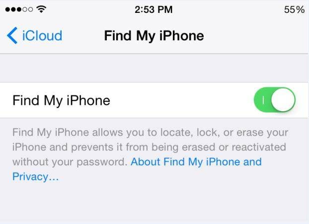 Removing your device from Find My iPhone
