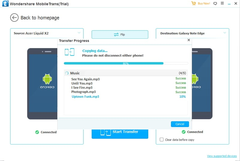 transfer data from Acer to other Android finished