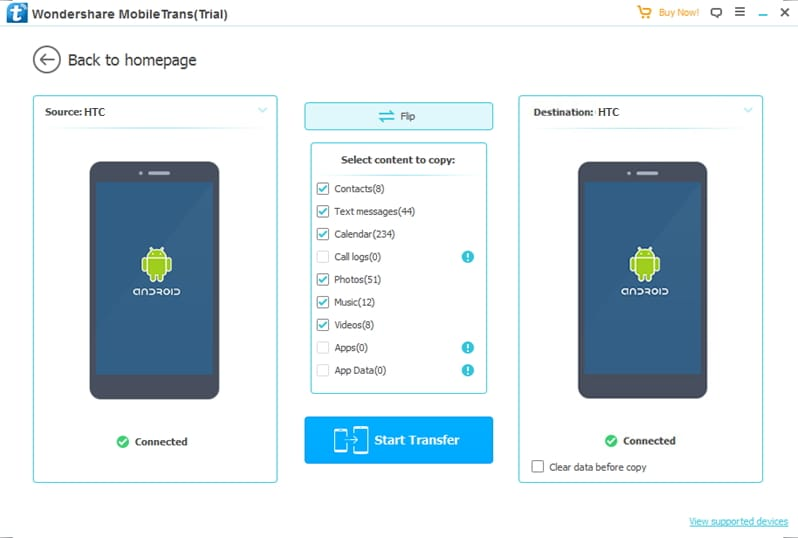 connect devices to transfer data from HTC to HTC