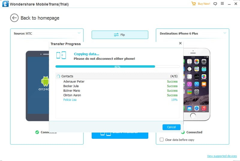 transfer files from HTC to iPhone