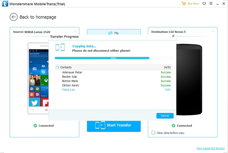 how to transfer data from Nokia Windows to LG