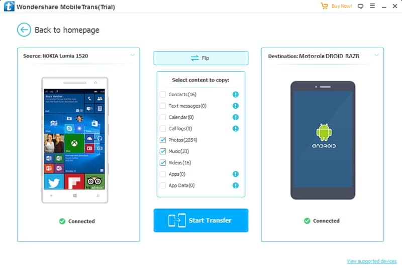 connect devices to transfer contacts from Nokia to Motorola